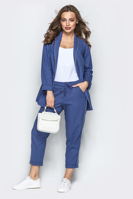 Костюм 19-49 пиджак-брюки лен синий. Купить оптом и в розницу
