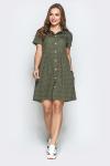 Платье 19-48 с карманами горох хаки. Купить оптом и в розницу