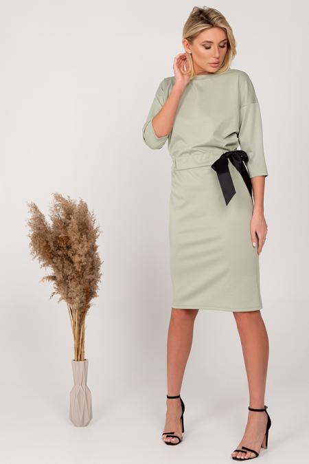Платье 21-004-39 репсовая лента зеленое яблоко