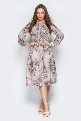 Платье 19-24 воротник-бант розы серый