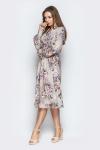 Платье 19-24 воротник-бант розы серый. Купить оптом и в розницу