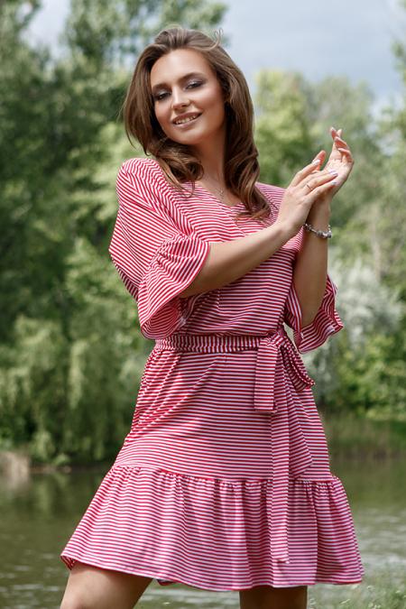 Платье 20-044-7р полоса красная. Купить оптом и в розницу