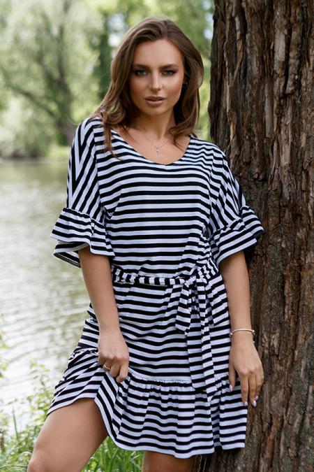 Платье 20-044-3р полоса черная. Купить оптом и в розницу