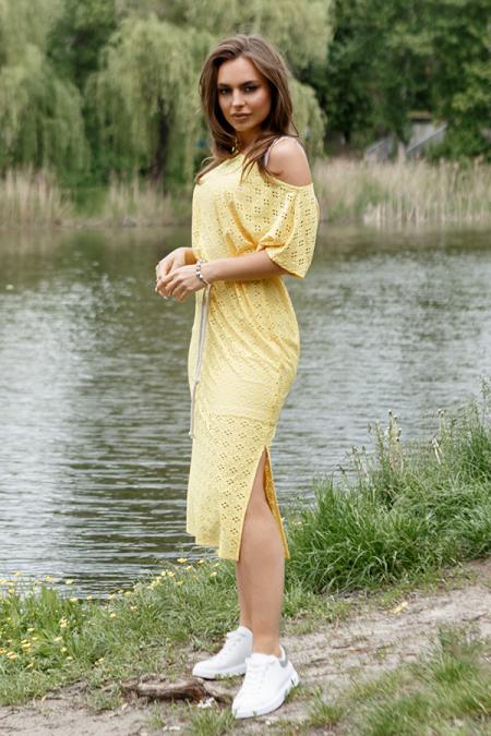 Платье 20-046-11 двойка ажур желтый. Купить оптом и в розницу