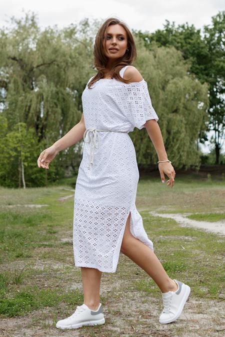 Платье 20-046-8 двойка ажур белый. Купить оптом и в розницу