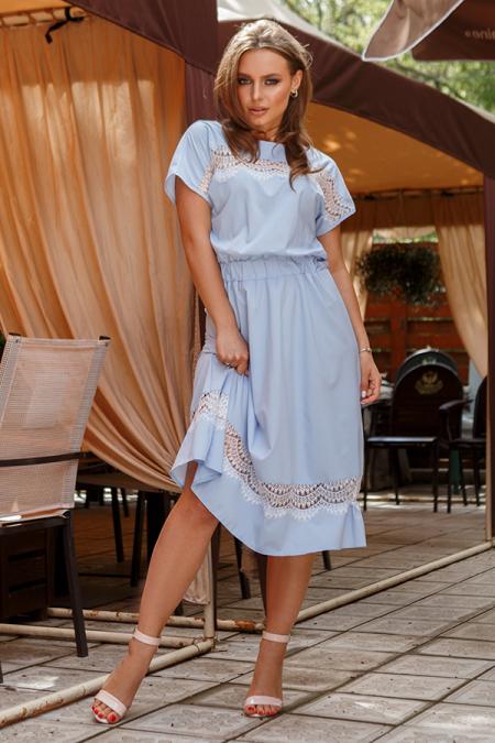 Платье 20-031-20 софт с ресницей голубой. Купить оптом и в розницу