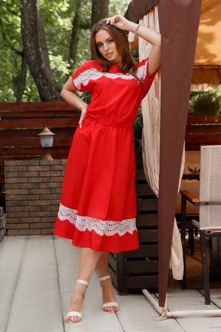 Платье 20-031-7 софт с ресницей красный. Купить оптом и в розницу