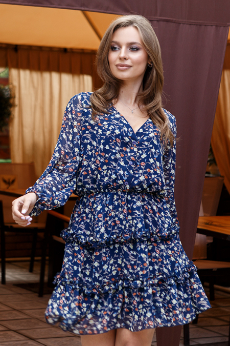 Платье 20-026-4с в цветочек с длинным рукавом. Купить оптом и в розницу
