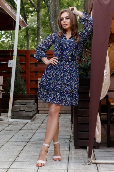 Платье 19-43/1 шифон, воротник-оборка, цветы. Купить оптом и в розницу