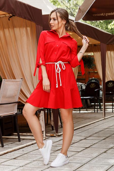 Платье 20-034-7 с рубашечным воротником, веревочным поясом. Купить оптом и в розницу