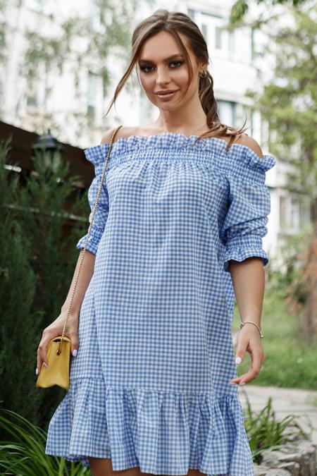 Платье 20-042-20к крестьянка голубая клетка. Купить оптом и в розницу