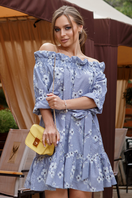 Платье 20-042-4кс крестьянка жатка