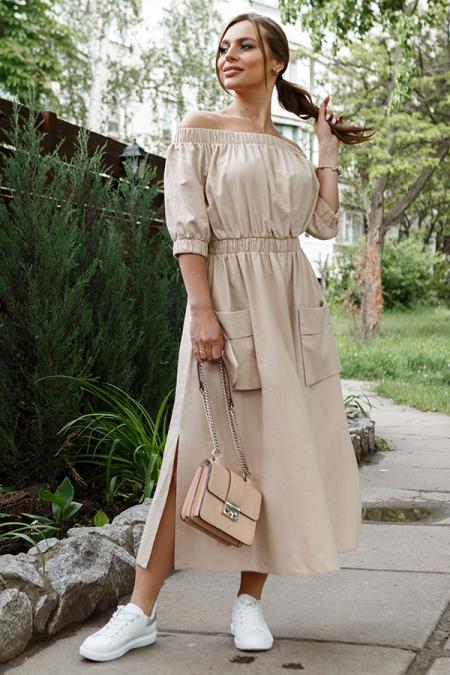 Платье 20-036-1 крестьянка коттон беж. Купить оптом и в розницу
