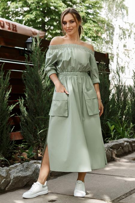 Платье 20-036-24 крестьянка коттон оливка. Купить оптом и в розницу