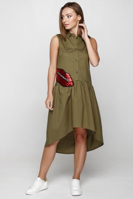 Платье 18-52 губы хаки. Купить оптом и в розницу