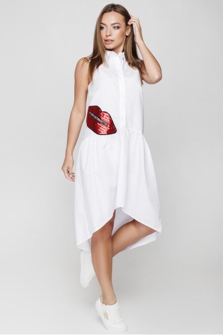 Платье 18-52 губы белый. Купить оптом и в розницу