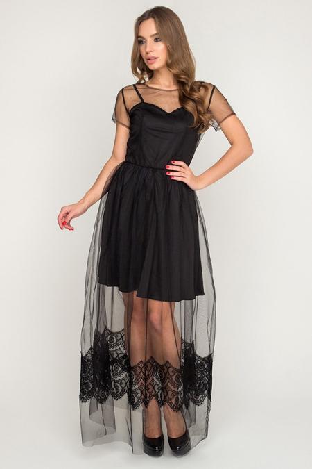 Платье 17-94-3 сетка с ресницей черный в пол. Купить оптом и в розницу