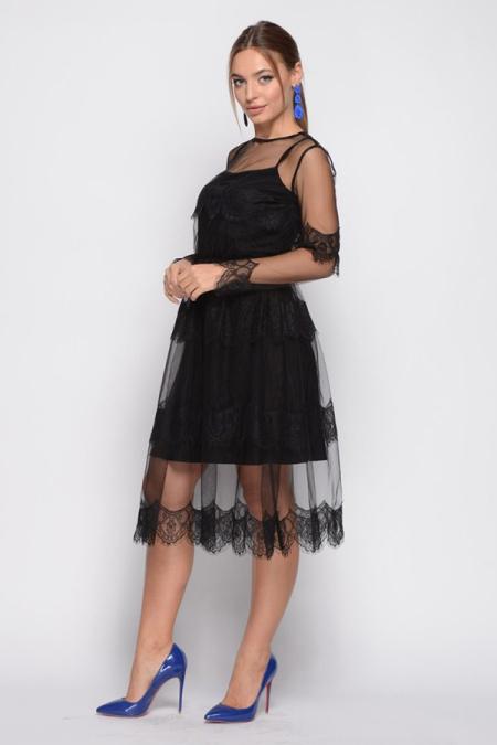 Платье 18-101-3 сетка с ресницей черное. Купить оптом и в розницу