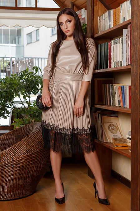 Платье 20-008 эко-кожа юбка плиссе ресница черный. Купить оптом и в розницу
