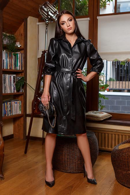 Платье 20-060-3 на кнопках черный. Купить оптом и в розницу