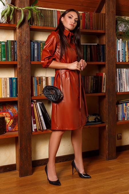 Платье 20-060-31 на кнопках терракот. Купить оптом и в розницу