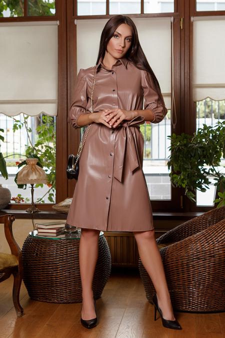 Платье 20-060-30 на кнопках капучино. Купить оптом и в розницу