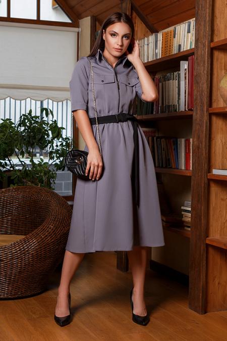 Платье 20-051-9 со змейкой серый. Купить оптом и в розницу