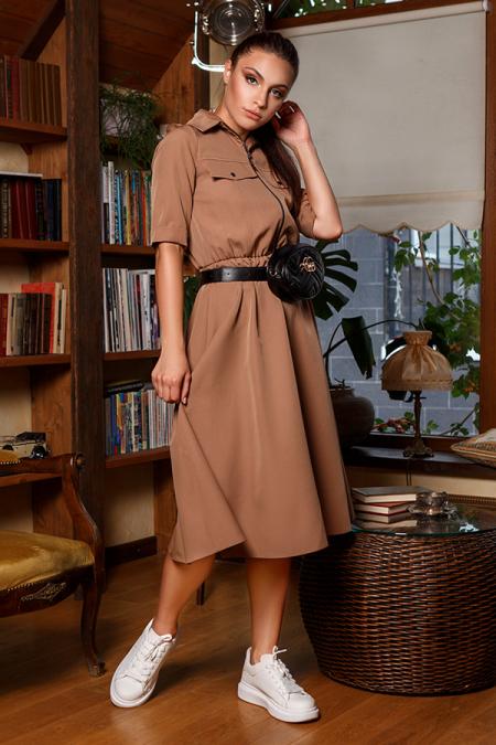 Платье 20-051-30 со змейкой капучино. Купить оптом и в розницу