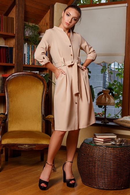 Платье 20-054-1 на золотых пуговицах беж. Купить оптом и в розницу