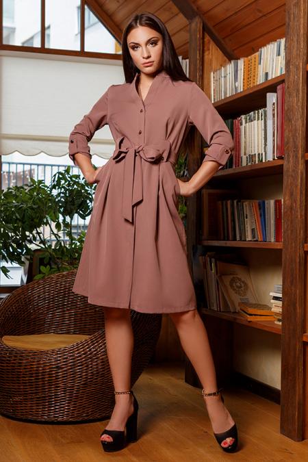 Платье 20-054-30 на золотых пуговицах капучино. Купить оптом и в розницу