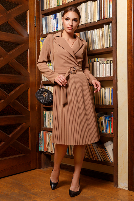Платье 20-067-30 плиссе капучино. Купить оптом и в розницу