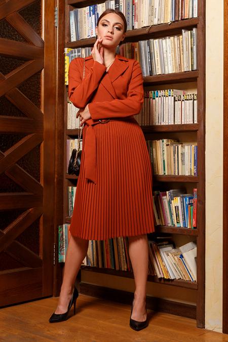 Платье 20-067-31 плиссе терракот. Купить оптом и в розницу