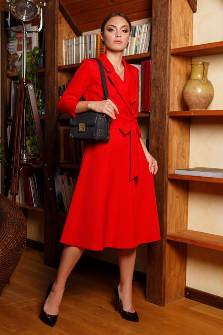 Платье 20-058-7 с пиджачным воротником красный. Купить оптом и в розницу