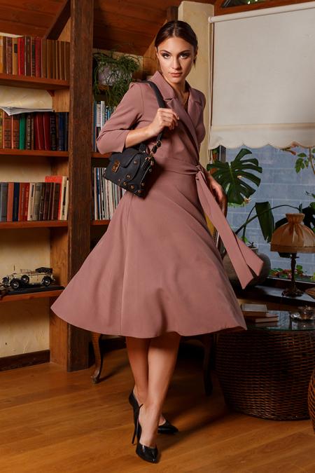 Платье 20-058-30 с пиджачным воротником капучино. Купить оптом и в розницу