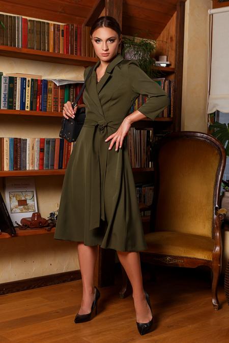 Платье 20-058-25 с пиджачным воротником хаки. Купить оптом и в розницу