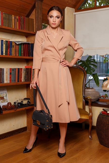 Платье 20-058-1 с пиджачным воротником беж. Купить оптом и в розницу