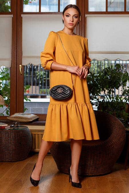 Платье 20-057-32 с широкой оборкой гочица. Купить оптом и в розницу