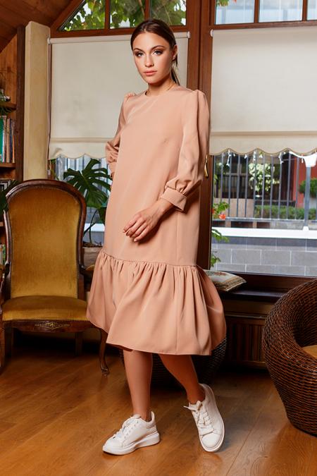 Платье 20-057-1 с широкой оборкой беж. Купить оптом и в розницу