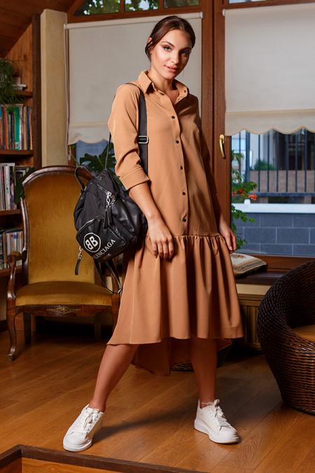 Платье-рубашка 20-066-29 с кнопками кемел. Купить оптом и в розницу