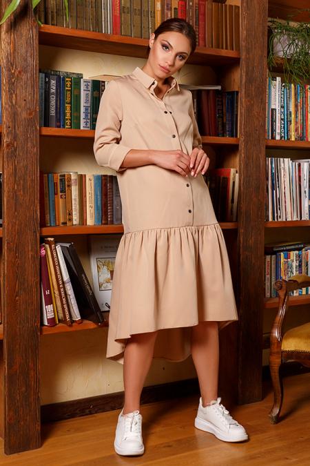 Платье-рубашка 20-066-1 с кнопками беж. Купить оптом и в розницу