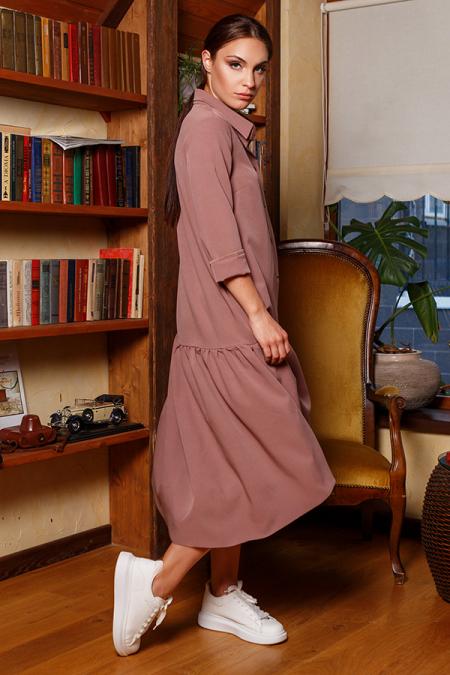 Платье-рубашка 20-066-30 с кнопками капучино. Купить оптом и в розницу