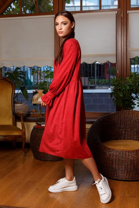 Платье 20-061-71 замша Oversize марсала. Купить оптом и в розницу