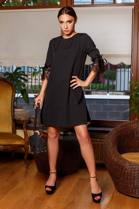 Платье 20-070-3 с ресницей на рукаве черный. Купить оптом и в розницу