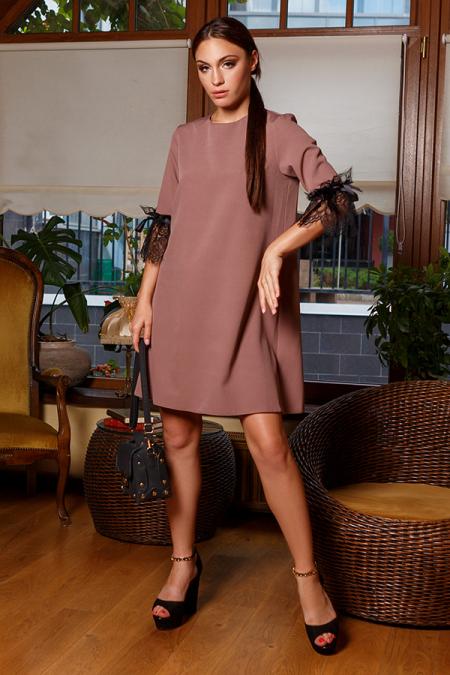 Платье 20-070-30 с ресницей на рукаве капучино. Купить оптом и в розницу