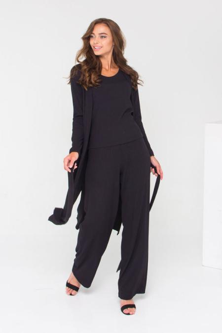 Трендовый костюм этой осени 21-026 рубчик цвет черный