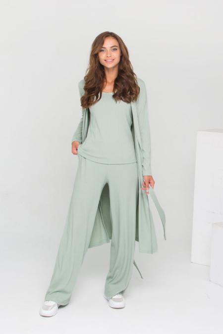 Трендовый костюм этой осени 21-026 рубчик цвет зеленое яблоко
