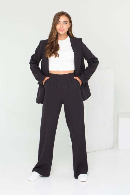 Идеальный костюм - пиджак и брюки палаццо костюм 21-027 цвет черный