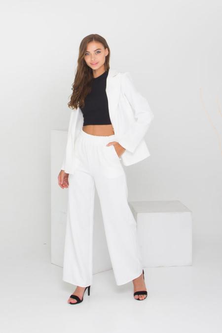 Идеальный костюм - пиджак и брюки палаццо костюм 21-027 цвет молоко