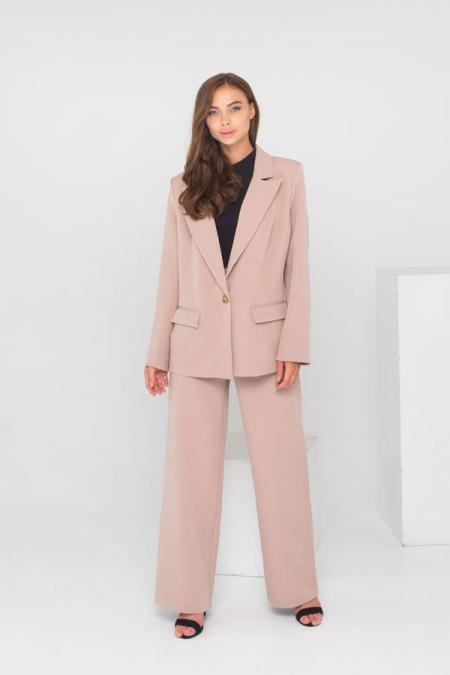 Идеальный костюм - пиджак и брюки палаццо костюм 21-027 цвет бежевый