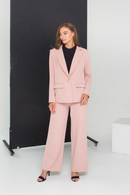 Идеальный костюм - пиджак и брюки палаццо костюм 21-027 цвет пудра